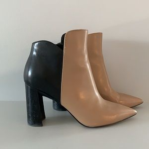 Marc Fisher two tone, pointed toe booties
